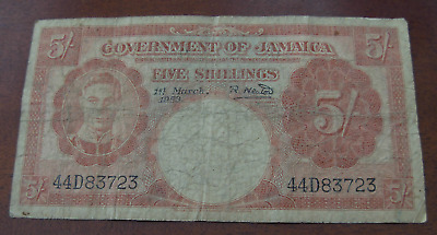 Jamaica 1953 5 Shillings Note P37