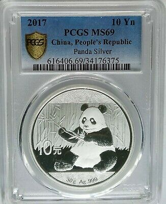 PCGS Secure 2017 China PANDA 10¥ Yuan Coin MS69 PRC Mint Silver 30g .999 Ag/Pure