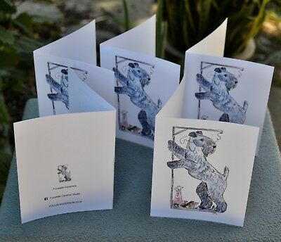 Kerry Blue terrier.Post cards made from my original watercolor.Set of 5 .!