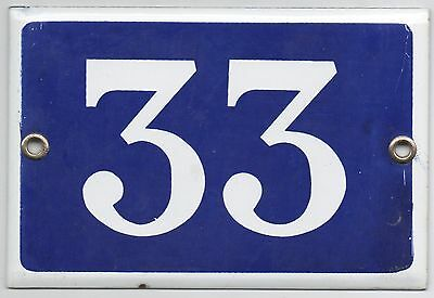 Old blue French house number 33 door gate plate plaque enamel steel metal sign