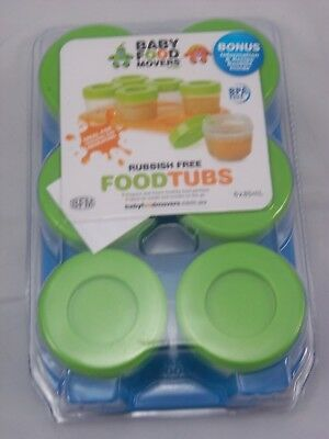 SMASH BABY FOOD MOVERS WEANING POTS 6 TUBS & BLUE TRAY 85ml STORAGE FREEZABLE