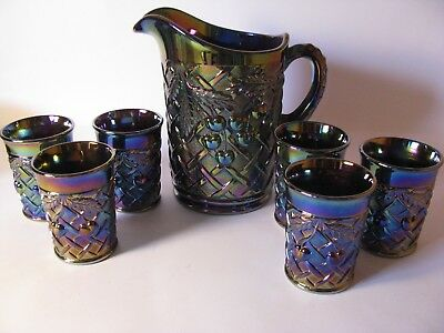 Mosser Carnival Glass Amethyst Cherry & Lattice Water Pitcher & 6 Tumblers Set