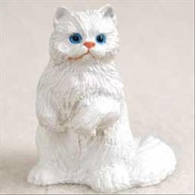 Persian White Cat Tiny One Miniature Small Hand Painted Figurine