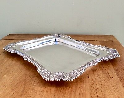 """Fine Antique WALKER & HALL 13"""" Silver On Copper Calling Card Tray C1897 1.25 Kg"""