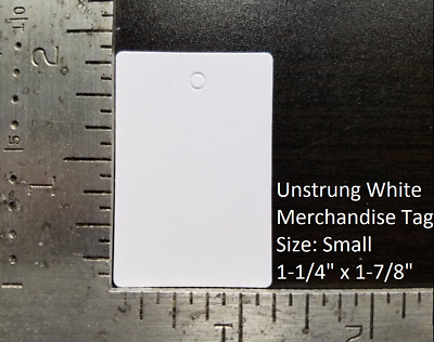 Blank White Garment Tags Unstrung Merchandise Price Jewelry Coupon Store Small