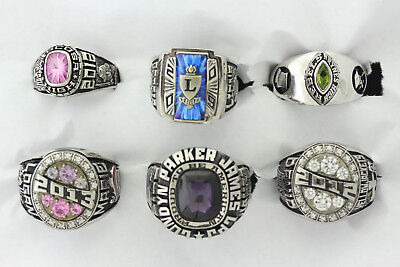 Wholesale Lot of 6 United States High School Class Rings