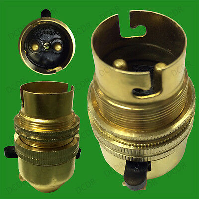 1x Brass Bayonet Socket BC B22 M10 Entry Light Bulb Holder Switch & Shade Collar