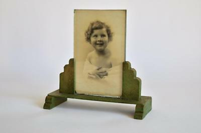 LOVELY ORIGINAL 1930s ART DECO ODEON STYLE GREEN METAL STEPPED PHOTO FRAME