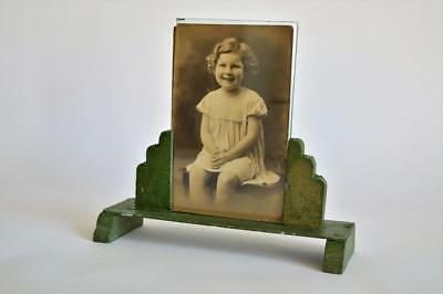 1930s ART DECO ODEON STYLE GREEN STEPPED PHOTO FRAME Gracie Fields Signed Photo
