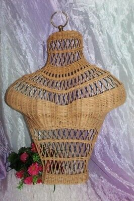 Vintage Wicker Woman's Bust/Chest Mannequin Hanging Form~Wall Display~Estate~p3