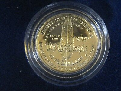 1987 GOLD United States Constitution Coins Silver Dollar & Gold Five Dollar COA