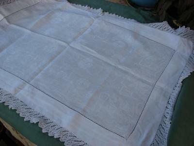Vintage White Damask Linen Table Mat,Centre~Ladderwork~Knitted Lace~29 x 20.5in