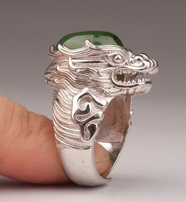925 silver Mosaic jade ring dragon head Men women adjustable size Fine jewelry