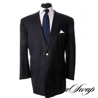 BIG GUYS Custom Made Adrian Jules Solid Navy Blue Brass Button 2 Vent Jacket NR
