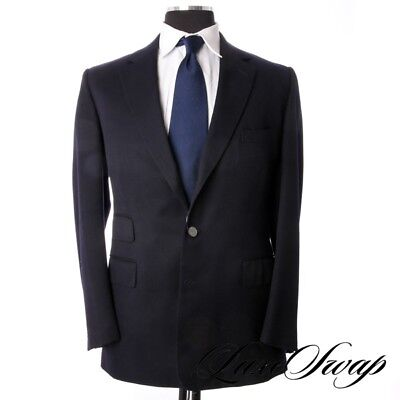 #1 MENWEAR Edward Sexton Savile Row Bespoke Solid Navy Silver Button Fall Jacket