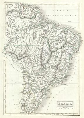 1844 Black Map of Brazil