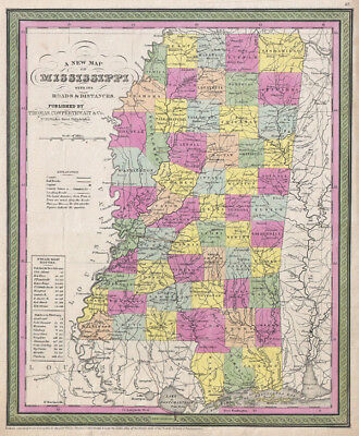 1853 Mitchell Map of Mississippi