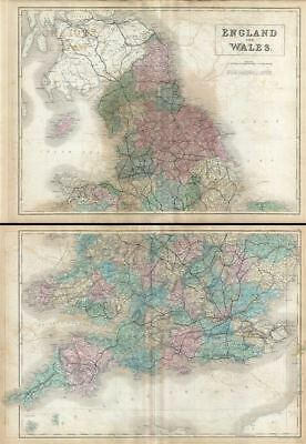 1851 Black Map of England and Wales (Set of 2 Maps)