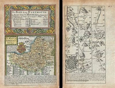 1736 Owen / Bowen Map of Somersetshire w/ Road Map: Chester to Cardiff on verso