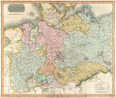 1816 Thomson Map of Germany north of the Mayne River
