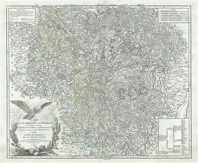 1756 Vaugondy Map of the Lorraine Region of France