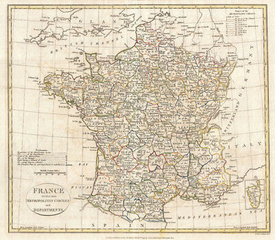 1799 Clement Cruttwell Map of France in Departments
