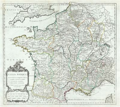 1750 Vaugondy Map of France in Antiquity