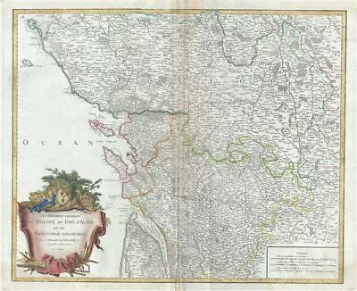 1753 Vaugondy Map of the Poitou-Charentes Region of France