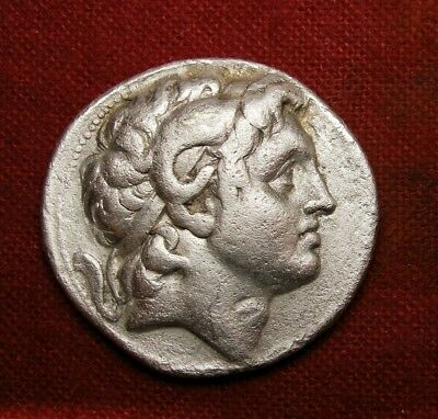Lysimachus Tetradrachm.Alexander The Great Deified with horn of Ammon.Greek Coin