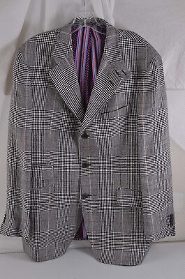 ETRO MILANO Silk Blend Silver Plaid Men's Sport Coat or Blazer 54 EU USA 44 SLIM