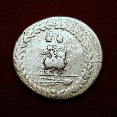 Roman denarius. M.F.Rullus. Young Jupiter riding Goat. Ancient Silver Coin