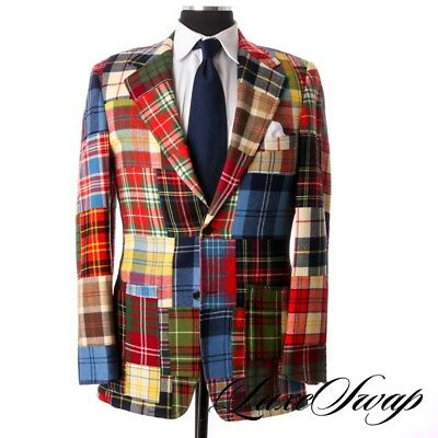 Vintage 1973 Custom Made Vicarys WILD Patchwork Tartan Tweed FU Jacket Blazer NR