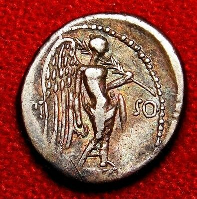 Roman Denarius, Quinarius Very Rare L.F.Frugi in this denomination. Old Cabinet