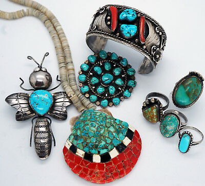 Vintage Native American Turquoise Jewelry Lot Bracelet Ring Necklce