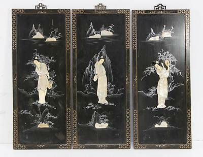 Set Of 3 Vintage Asian 3D Wall Panels Mop Featuring A Geisha