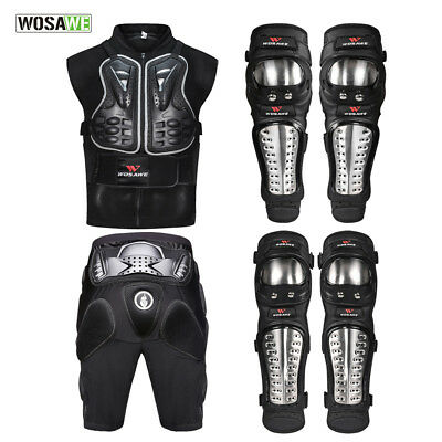 MOTORCYCLE Body Protective Gear Armord Vest Shorts Knee Guard Elbow Pads Set