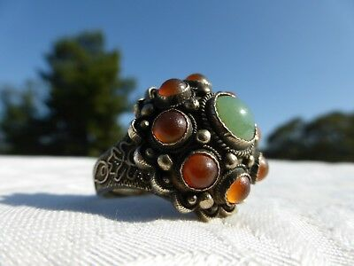 Really BEAUTIFUL Vintage CHINESE SILVER Carnelian JADE Dome Cocktail RING