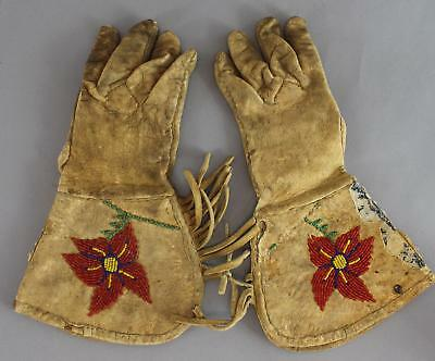 Antique Native American Plains Indian Rawhide Leather Beaded Gauntlet Gloves