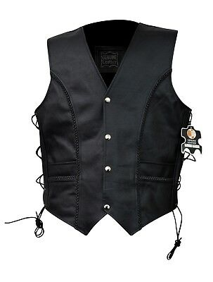 Men's Braided Black Leather Motorcycle Vest Leather Biker Vests Small To 6XL
