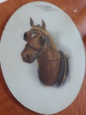 Vintage reverse painted horse  advertising  dry goods  store Chicago  1900s