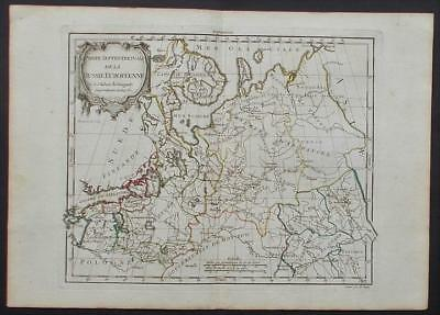 NORTH RUSSIA , BALTIC LANDS OLD FRENCH MAP BY R. DE VAUGONDY ca.1750