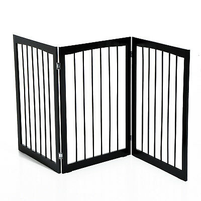 Folding Pet Gate 3 Panel Fence Free Standing Child Safety Indoor Wood Durable