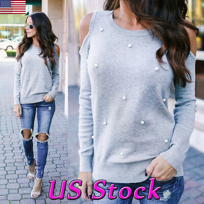US Womens Pearls Casual T Shirt Tee Ladies Cold Shoulder Long Sleeve Tops Blouse