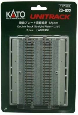 Kato 20-022 124mm (4 7/8') Double Track Plate Straight Track WS124G  (N scale)