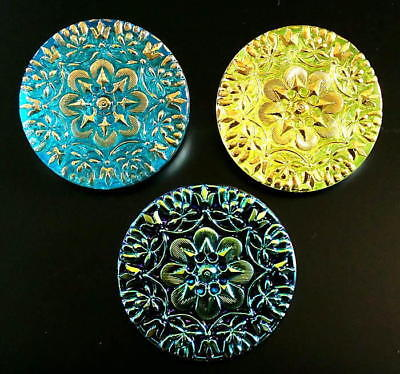 Collection of 3 Czech Glass LACY Buttons #G944 - RARE ANTIQUE RELIEF!!! - XLARGE