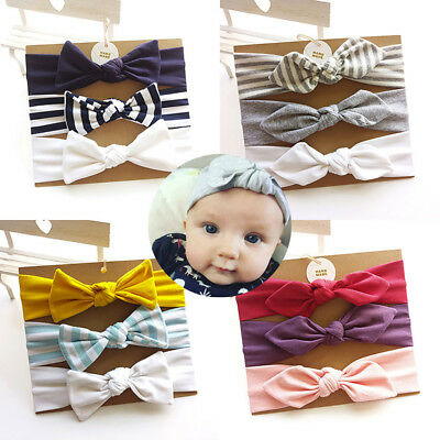 3Pc Newborn Kids Floral Headband Hair Girl baby Bowknot Accessories Hairband Set