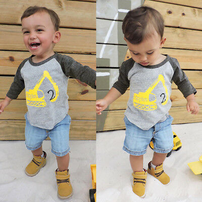 2Pcs Toddler Kids Baby Boys Car Letter Tops+Denim Shorts Fall Outfit Clothes Set
