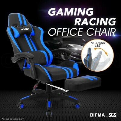 PU Leather Ergonomic Gaming Racing Office Computer Chair with Footrest BL & BK
