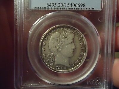 1903 50C Barber Half Dollar PCGS VF-20 OLD HOLDER KEY DATE 90% SILVER NO RESERVE