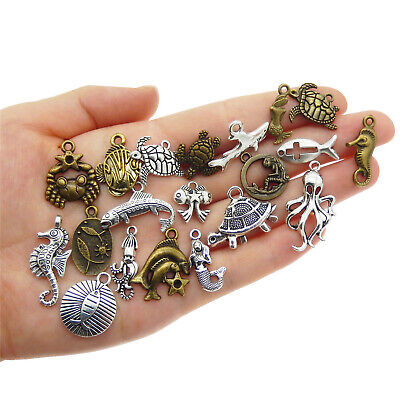 20Pcs Antiqued Bronze Tone Sea Animals Crafts Pendant Charms for Jewelry Making
